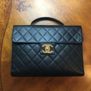 Vintage Chanel Black Caviar Briefcase Gold HW